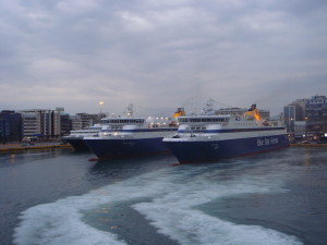 Fast ferries leaving Piraeus port