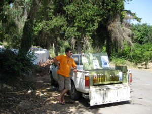 Selling Olive Oil from the back of a truck in Crete