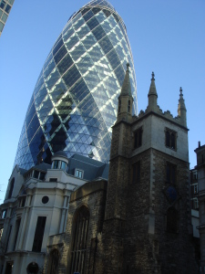 Contrast of old and new in London City