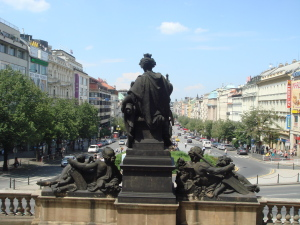 Looking down Wenceslas Square from the National Museum