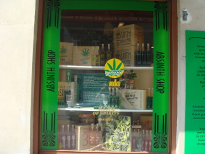 The window of a Prague Absinth shop
