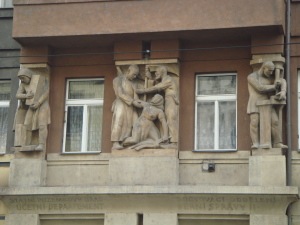 Sculpures on a Prague building