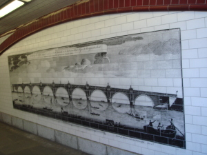 Old Blackfriars Bridge illustrated in tiles