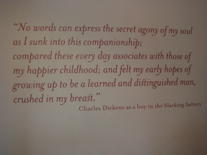 Charles Dickens' thoughts on work at the blacking factory