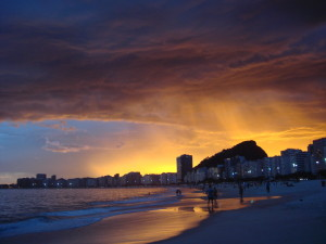 Copacabana Beach at Sunset