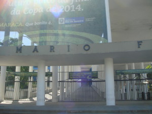 A fragment of the front of the Maracana