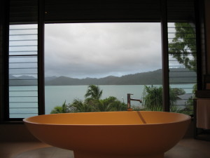 The view from the qualia pavilion bathroom