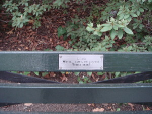 A message of love on a Central Park bench