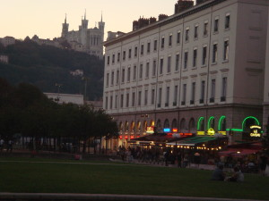 Lyon lighting up for the night