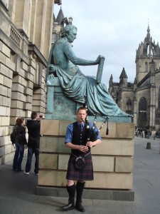 A piper on Edinburgh's Royal Mile