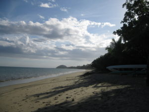 The palm-shaded beach at Fiji's Uprising resort where the Fiji Olympic Sevens Rugby Team prepared for gold